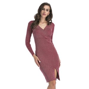Femmes 2018 Automne et Hiver New V-cou robe crayon à manches longues Pull fendu Robe tricotée