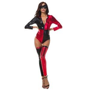 Geisterfest Schwarzessequin-Clown-Kostüme 50% Red Stage Circus Theme Kostüme Diskothek Bodysuit Partei COS-Abendkleid