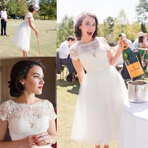 1920's Tea-length Vestidos de casamento com mangas 2018 Retro Vintage Lace Tulle Jardim Coountry curto vestidos de noiva vestido de recepção