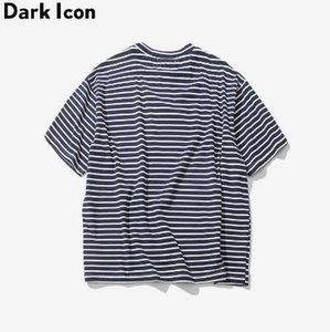 Rose Embroidery Striped Mens T-shirt Short Sleeve Summer Hi-street Oversized Hip Hop Tshirt Cotton Tee Shirts 2 Colors