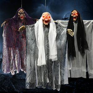Halloween Hung Ghost Horror Control de voz Ghost / Skull Disfraces de la casa embrujada Scary Ghost Style Los ojos pueden hacer sonidos luminosos juguetes de Halloween