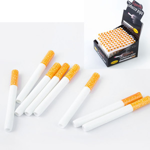 DHL free Cigarette Shape Smoking Pipes Ceramic Cigarette Hitter Pipe Yellow Filter Color100pcs box 78mm 55mm One Hitter Bat Metal Smoking