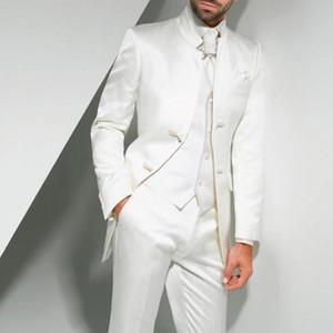 Vintage Uzun Beyaz Uzun Düğün Smokin Damat 2018 için Üç Parçalı Custom Made Örgün Erkekler Suits (Ceket + Pantolon + Yelek)