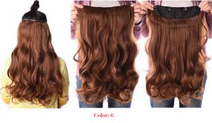 Pince ondulée étirée de 190 po, 24 po, en extensions de cheveux synthétiques, fibre résistante à la chaleur, 4 pinces, une pièce, 17 couleurs disponibles