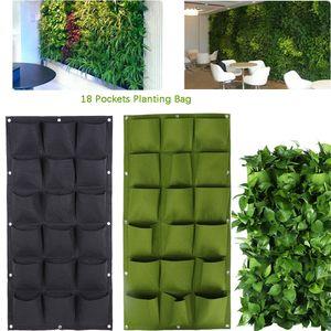 Wall Hanging Planting Bags Tasca Flower Plant Pots Fioriera Vertical Pouch Tessuto non tessuto da giardino Plant Nursery Growing Bag 18 Tasche