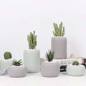 Ensemble de jardinières en céramique cylindriques - 3pcs Matt Pot de fleurs en porcelaine Mini succulente géométrique pots de fleurs Pot de fleurs Bonsaï
