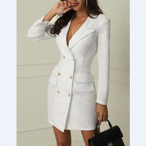 White ladies blazer dress Women blazers suit winter Sexy long sleeve party female button blazer girl jacket 2019