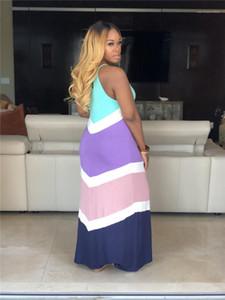 Spagherri Strap bodenlangen Fashion Kleidung Sexy-Strand-Party-Kleid Frauen Sommer Striped Druck-Sleeveless Kleider