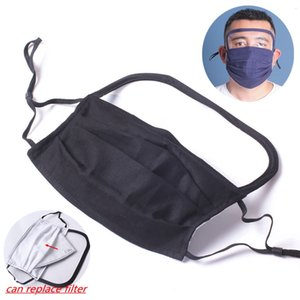 Face Mask with Face Shiled 2020 New Style Cotton Cloth Anti Dust Mask Washable Reusable Mouth Masks Replaceable pm2.5 Filter HHA1334
