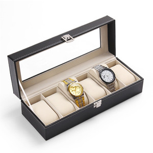LISCN Watch Box 5 Grids Watch Boîtes Boîtes Coating Caja Reloj Black Holder Boite Montre Bijoux Coffret 2018