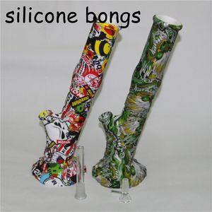 Печать Силиконовые Бонг Cartoon Theme Straight воды курительные трубки Бонг со стеклом Чаша и dowanstem стекла регенерата Ashcatcher