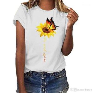 Tshirts Moda Taze Tatlı Kısa Kollu Tasarımcı Bayan Yaz Giyim Ayçiçeği Ve Kelebek Baskı Casual Womens