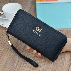 New Womens Wallet Womens Long Fashion 2020 Japan and South Korea Zipper Large Capacity Embossed Leaf Wallet Clutch Bag
