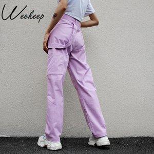 Weekeep Allentato Delle Donne A Vita Alta Pantaloni di cotone Figura Intera Pantaloni Delle Donne 2018 di Modo di stirata Streetwear Pantaloni Cargo Donne