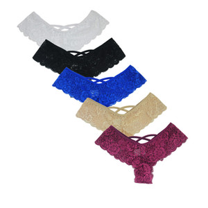 New Sexy Lace Thong Calcinhas Boa Elastic Underwear Mulheres Mini Corda G-corda V Back Strappy Brasileiro Calcinha 3xl 2xl Xl-s C19041502