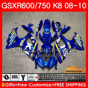 Bodys Para SUZUKI GSXR 600 750 GSX R750 R600 GSXR600 08 09 10 9HC.0 GSX-R750 GSXR-600 K8 GSXR750 2008 2009 2010 Kit de carenado New Factory blue