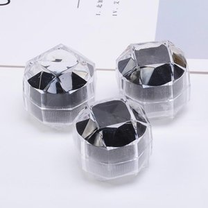 3.8CM Jewelry Package Boxes Ring Holder Portable Acrylic Transparent Rings Earring Display Box Storage Box Cases Bins Organizer NEW GGA2862