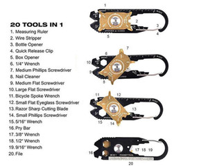 Outdoor Sports Utility portátil de bolso 20 em 1 multifunções chave de fenda chave Opener EDC Survival Keychain Ferramenta de Moda