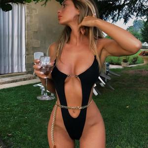 B-01 Трусики бикини устанавливает сексуальные женщины купальник цепи один цельный бикини Твердая дизайнер Купальники девушки Пляжная Женский купальный костюм Biquini
