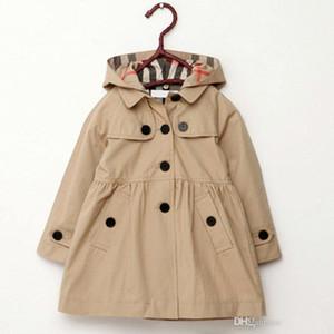 2019 детская одежда пальто девушки сплошной цвет средней длины однобортный дети траншеи малыш верхняя одежда