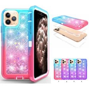 Hybrid 3 in 1 Gradient Flüssiges Quicksand Abwehr Glitter Stoß- Telefon-Kasten-Abdeckung für iPhone 11 Pro Max 11 Pro XR XS MAX 6 7 8 PLUS