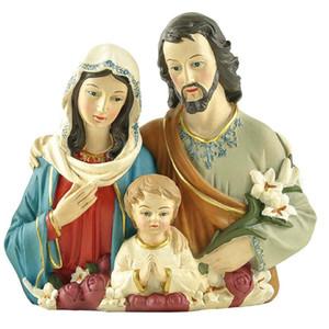 "Ployresin Mary Joseph Catholic Religious Items Christmas Gift Home Decoration 4.5"" Holy Family Jesus Statue"
