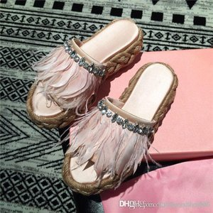 New summer slippers, straw woven thick sole with hand-sewn crystal silk slippers pink thick sole sandals With original box 34-40