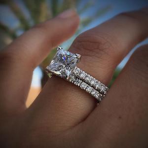 Hot Vente mousseux blanc 5A + Zircon Bague pour femmes simple cristal de fiançailles de mariage bijoux de mariée Parti anneau de 925 Timbre