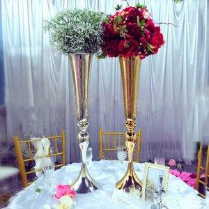 30-дюймовый элегантный Tall Щепка New Gold Metal Vase Gold Flower Vase Royal Gold Труба Вазы украшения серебро Свадебные вазы