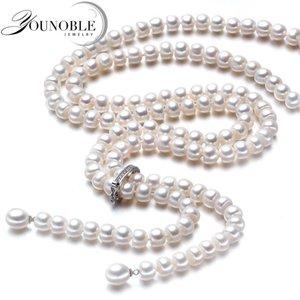 900mm Vintage Real Largo Collar de Perlas Mujeres, joyería de las muchachas 925 de Plata Nupcial Natural de Agua Dulce Blanco Collares de Perlas Madre Y19061003