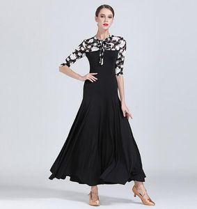 Standard Ballroom Dance Dresses 2019 Nouvelle Conception Manches moyennes Flamenco Danse Jupe Femmes Pas Cher Stage Valse Ballroom Dress