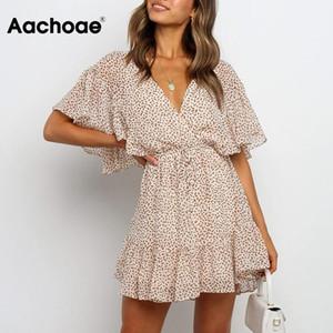 Женщины Boho Печатная шифоновая мини-платье лето V шея Ruffled Пляж Sexy платье линия с коротким рукавом отдых вскользь