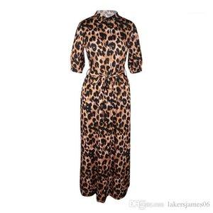Платья осень V шеи Половина рукава Сексуальная женщина одежда Мода Стиль Повседневная одежда женщин конструктора платье Leopard Desinger Maxi