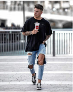 Men's Designer Jeans with Big Holes Straight Leg Trousers, Loose-fitting Mid-waisted Pants and Funky Leg Trousers Pants with Zipper New