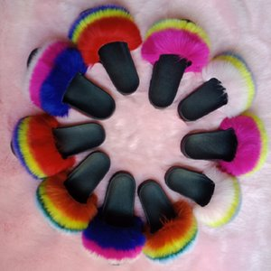 Women sandals fur slippers sexy & club non-slip wear-resisting plush outdoors holiday beachwear Flat shoes furry Gradient outdoor soft 0124