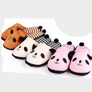 Panda Симпатичные обувь Полосатый Тапочки Зимний дом с Fur Tail Прекрасный мультфильм Panda Home Пол Мягкие тапочки Женская обувь 36-40