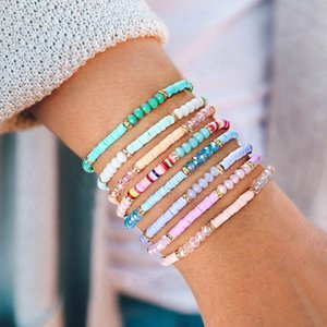 Bohemia Handmade Beaded DIY Bracelet Colorful Rice Beads Hand Chain Friendship Bracelet Beads ElasticBangle For Women Designer Jewelry Gifts