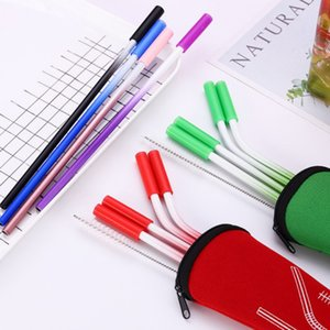 5pcs set Stainless Steel Eco-Friendly Reusable Drinking Straw Straight  Bend Metal Straw with Cleaner Brush Bar Accessories