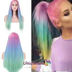 Arco iris de colores Ombre peluca larga recta pelucas de pelo de fibra de alta temperatura del pelo sintético suave natural barato pelucas No se enreda Cosplay