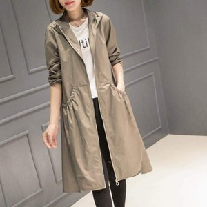 2019 Spring and Autumn New Hood Mid-length over-knee thin trench coat women's loose-fitting large-size coat long plus size