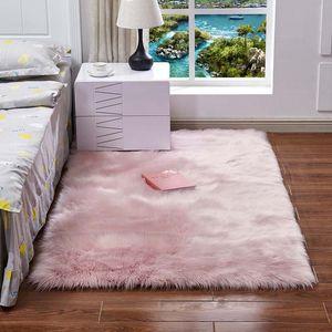 Super Soft Rectangle imitation peau de mouton Zone de fourrure Les tapis Shaggy Chambre Plancher Silky peluche Tapis blanc en fausse fourrure Tapis de chevet Tapis