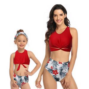 Boho 2ST Frauen-Mädchen-beiläufige Blumen hohe Taillen-Badebekleidung Zweiteilige Bikini-Set mit Rüschen 2020 Damen Kinder Padded Bademode Bikini