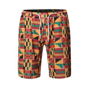 Plage Short Summer Youth droite élastique à court Drawstring Pantalons simple Homme Stylistes Hommes imprimé ethnique