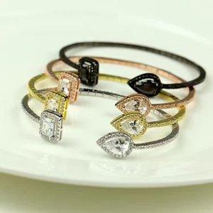 Argent 925 romantique Goutte d'eau CZ Pierre Percée Dangle bracelet mode bracelet manchette forme carrée strass bracelet en cristal de diamant