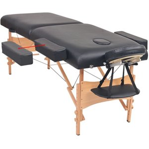 Folding massage table with 2 zones 10 cm thick black Pet Supplies Home Garden