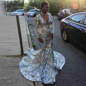 Largos y elegantes vestidos de fiesta de plata 2019 Bling Bling sirena Manga larga con cuello en v de lentejuelas African Black Girl Sexy vestido de noche