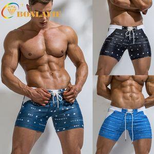 2020 Men Beach Short Elastic Printed Boxer Three-point Swimming Trunks Beach Board Shorts Swimming Pants Swimsuits Pants Men
