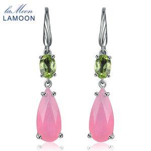 Lamoon 100% Natural Teardrop Quarzo Rosa 925 Orecchini In Argento Sterling Donna Fine Jewelry S925 Lmei032 Y19052401