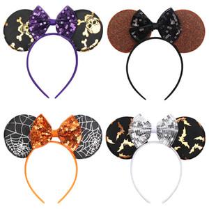 4 estilo crianças menina acessório do cabelo do dia das bruxas rato orelha com arco lantejoulas design varas de cabelo meninas grampos de cabelo acessório do bebê festa de halloween
