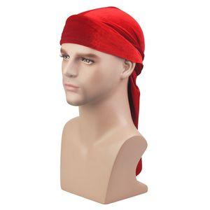Nouveaux Hommes Femmes Bandana Velours Turban Chapeau Durag Hip Hop Chapeaux Head Scarf Pirate Hatlong Headwrap Cap Chapeau Pirate Pour Hommes Et Femmes